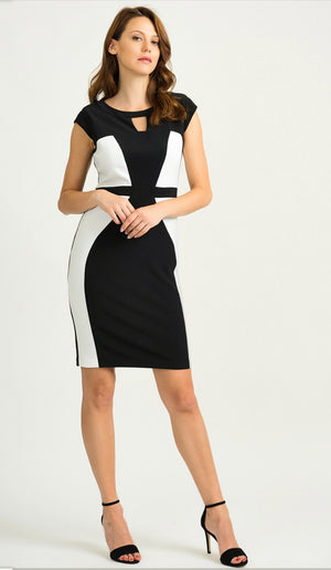 Joseph Ribkoff Short Sleeves Two Tone Front Dress