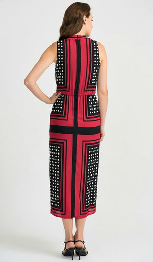 Joseph Ribkoff Sleeveless V Neck Polkadots Print Dress
