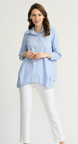Joseph Ribkoff Long Sleeves Vertical Stripes Lines Blouse