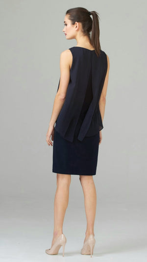Joseph Ribkoff Sleeveless V Neck Double Layered On Top Dress