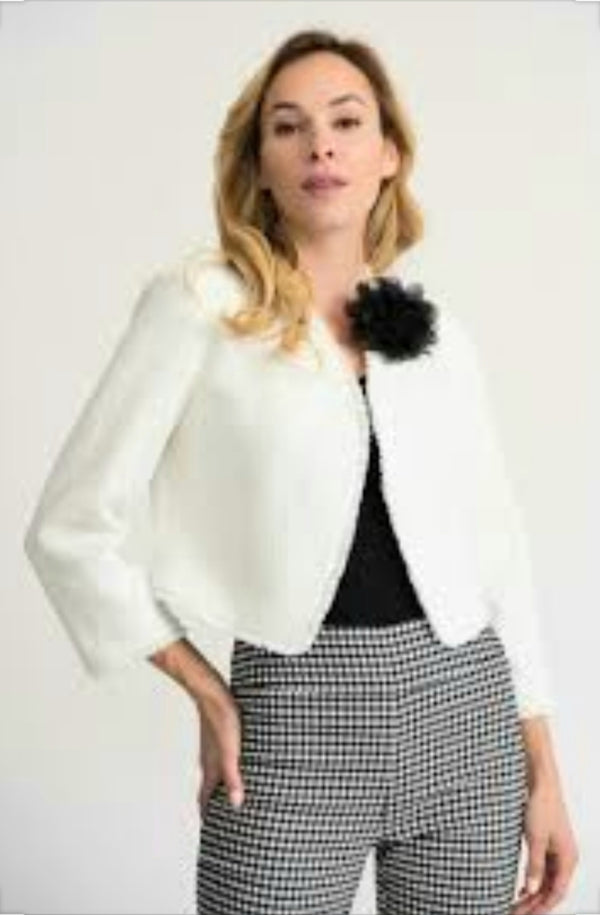 Joseph Ribkoff Long Sleeves Short Lenght Flower On One Side Jacket