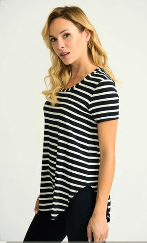 Joseph Ribkoff Short Sleeves Round Neck Stripes Top