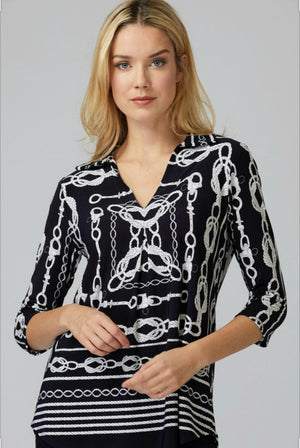 Joseph Ribkoff 3/4 Sleeves Channel Print Blouse
