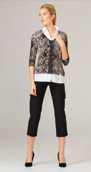 Joseph Ribkoff 3/4 Sleeves V Neck Print Blouse