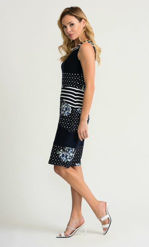 Joseph Ribkoff Sleeveless Round Neck Knee Lenght Print Dress