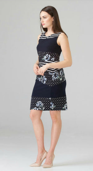 Joseph Ribkoff Sleeveless Round Neck Knee Length Print Dress