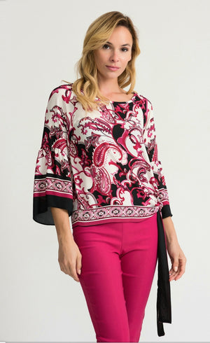 Joseph Ribkoff Long Sleeves Round Neck Multicolor Blouse