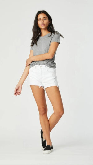 Mavi Jeans Rosie White Ripped Shorts