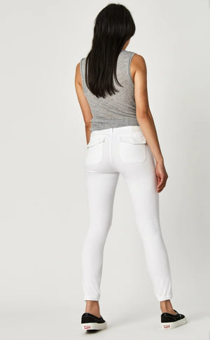 Mavi Jeans Ivy White Twill Zipper Pants