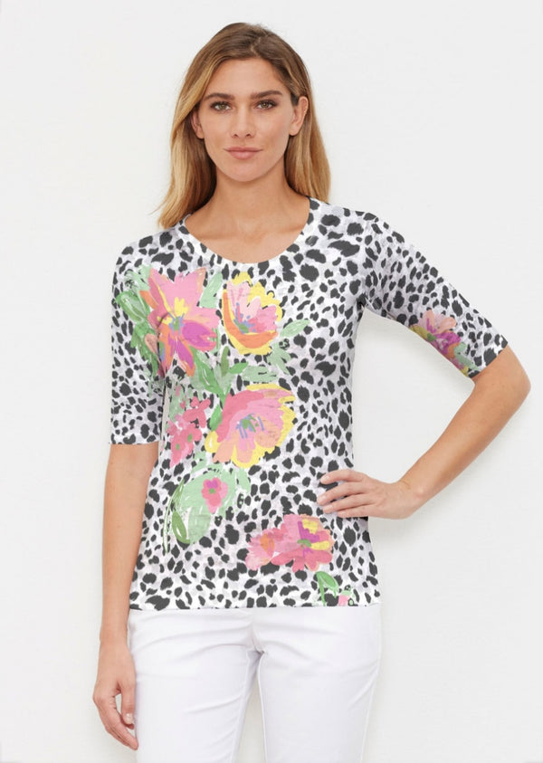 Whimsy Rose Spring Leopard Elbow Sleeve Shirt