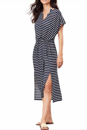 Joules V Neck Open On the Bottom Side Stripes Dress