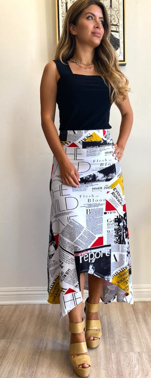 Trouble At The Mill Newspaper Print Uneven Bottom Skirt