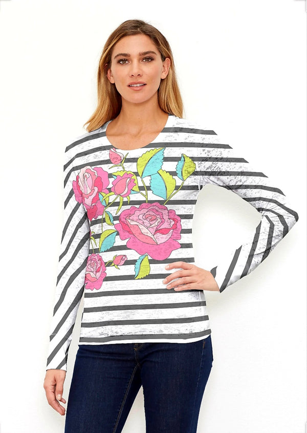 Whimsy Rose Rosie Stripe Long Sleeve Crew Shirt