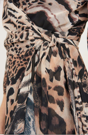 Joseph Ribkoff Long Sleeves V Neck Leopard Print Dress