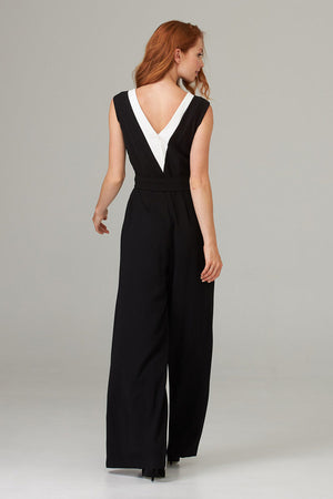 Joseph Ribkoff Sleeveless Two Tone Long Jumpsuit