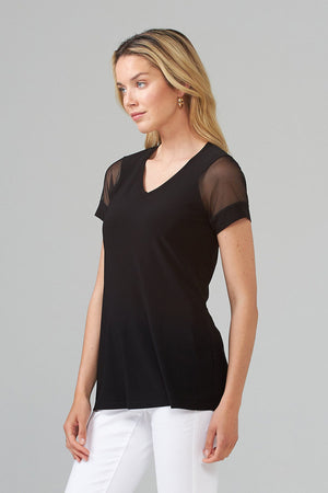 Joseph Ribkoff Soft V-Neck Short Sheer Sleeves Wide Cuff Detail Top