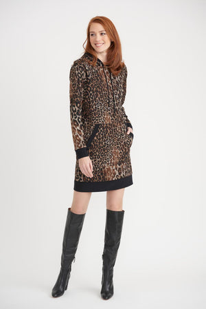 Joseph Ribkoff Leopard Long Sleeves Front Pockets Hoodie Dress