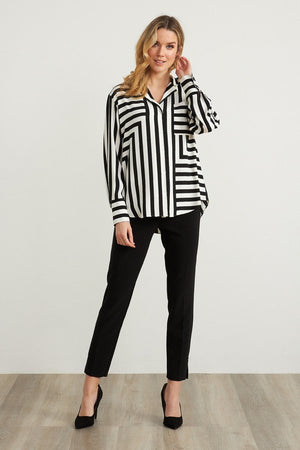 Joseph Ribkoff Stripes Long Sleeves Two Tone Blouse