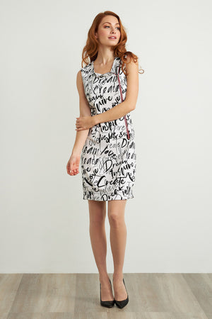 Joseph Ribkoff Calligraphy Dress with Red Zipper