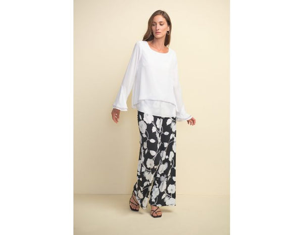 Joseph Ribkoff Flowers Wide Open Bottoms Pants
