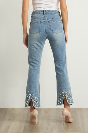Joseph Ribkoff Wash Off Pearl Detail Denim Jeans