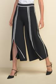 Joseph Ribkoff Stripes Open Bottom Wide Leg Capri Pants