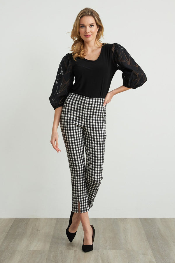 Joseph Ribkoff Gingham Fitted Pants