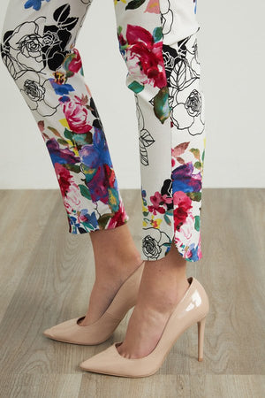 Joseph Ribkoff Floral Multicolor Slit In The Bottom Pants