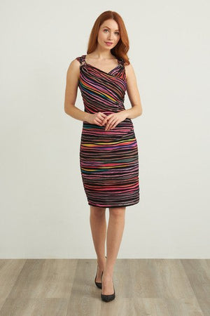 Joseph Ribkoff V Neck Sleeveless Multicolor Dress
