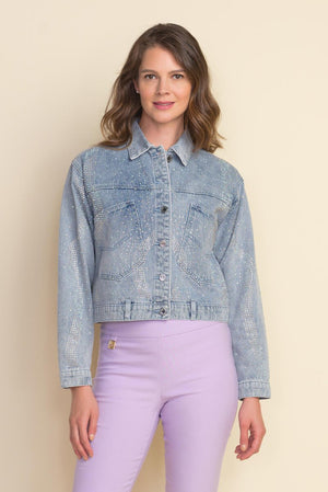 Joseph Ribkoff Long Sleeve Rhinestones Denim Jacket