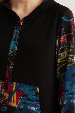 Joseph Ribkoff Long Sleeve Graffiti Multicolor Print Blouse
