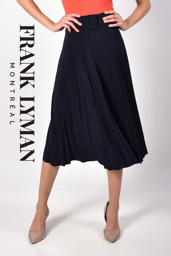 Frank Lyman Belt Pleated Long Skirt