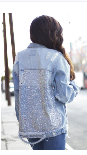 Yeaggy Billy Distressed Denim and Crystal Oversized Jacket