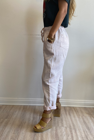 Papillon Styles Linen Striped Pants
