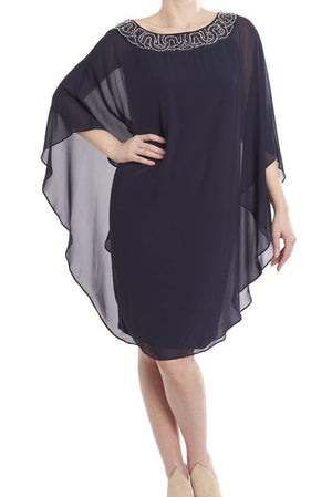 Joseph Ribkoff Chiffon Layered Dress w/Beads On Neckline