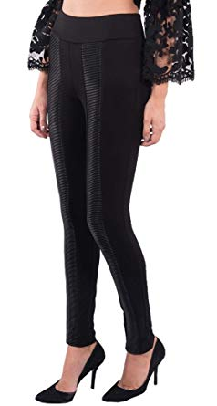Joseph Ribkoff Black Pull On Leggings with Leather Detail