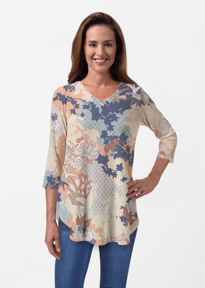 Whimsy Rose Oriental Floral Long Sleeve V Neck Top