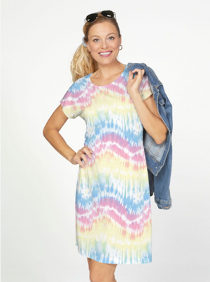 Whimsy Rose Waves Tie Dye Smoth Terry Short Sleeve Crew Dress