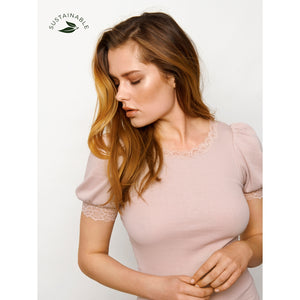 Rosemunde Organic T-Shirt Regular SS W/Lace