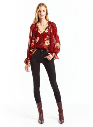 Secret Mission Long Sleeves Multi Orange Floral Blouse