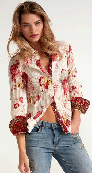 Cino Wrinkle Long Sleeve Washed Roses Blouses