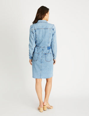 Etica Long Sleeves Denim Dress Jordyn Ice Blue Indigo