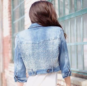 Yeaggy Roxie Starry Night Cropped Denim Jacket