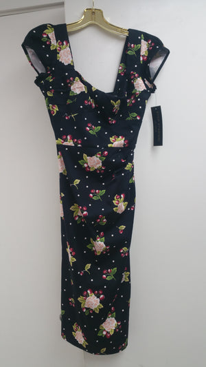 Stop Staring Floral Short Sleeves Pokadots Cherry Dress
