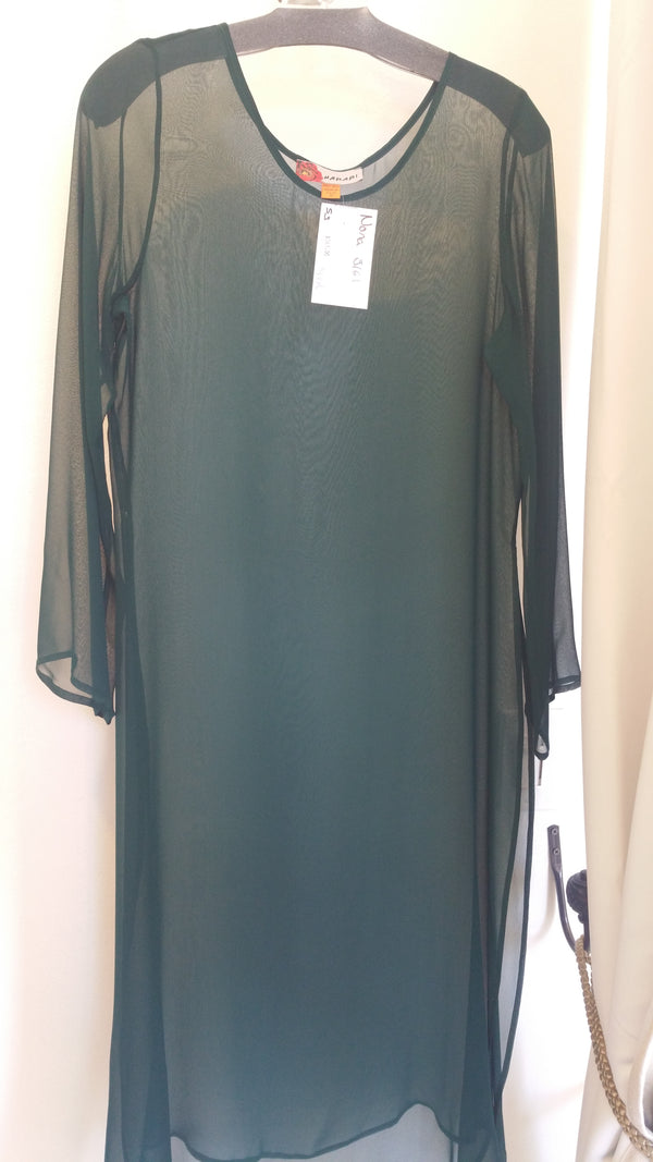 Harari Solid Sheer Long Sleeve Dress 3161 Nona