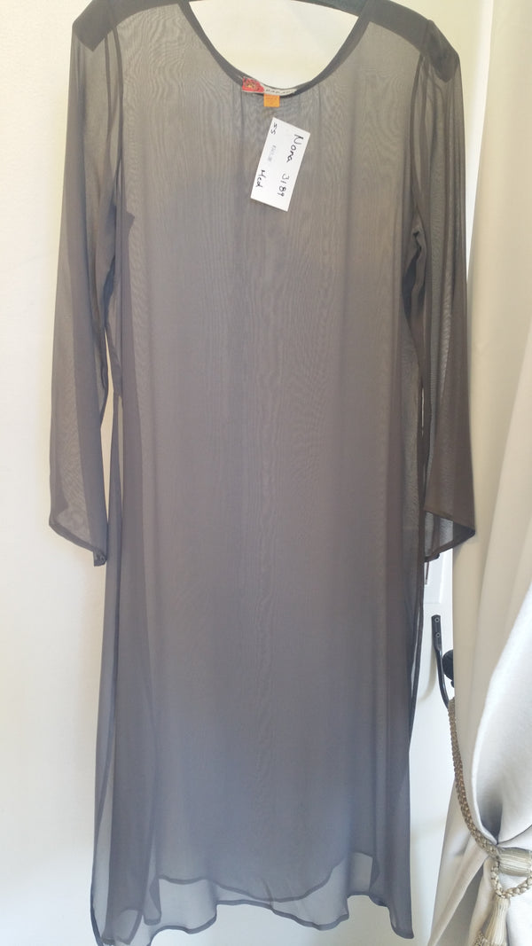 Harari Solid Sheer Long Sleeves Dress 3189 Nona