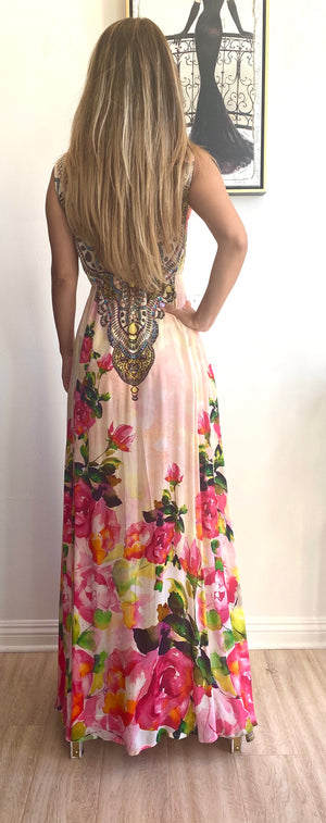 Shahida Parides Silks Plunge Neckline Maxi Dress