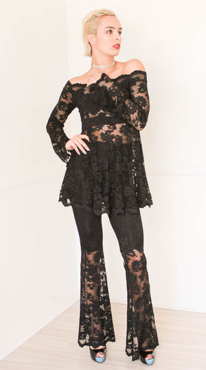 Olvis Lace Tunic Off Shoulder Long Sleeves Sheer