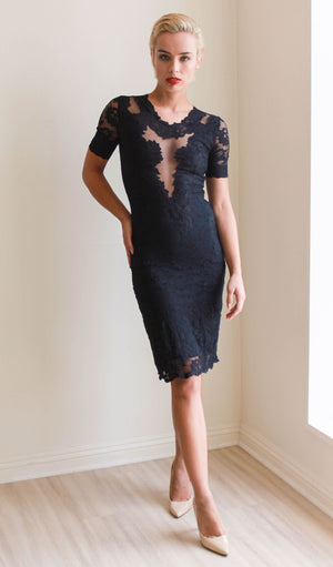 Olvis Lace Short Sleeves Knee Length Dress With Sheer Tulle On Mid Chest