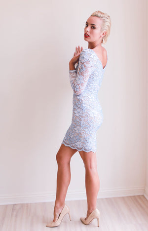 Baccio Couture V Neck Long Sleeve Fitted Dress